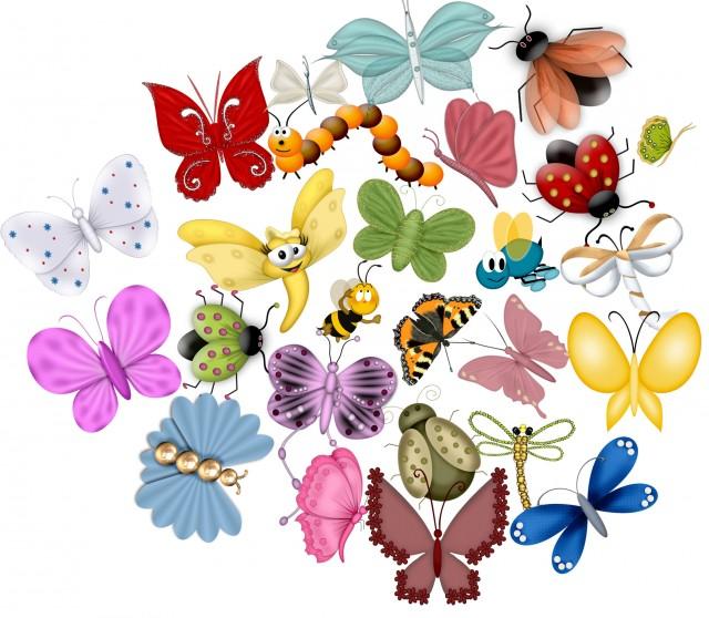 цифровой скрапбукинг, для фотошопа, скрап набор, PSD шаблоны, картинки на прозрачном фоне, лето, насекомые, бабочки, жуки, рукоделки василисы