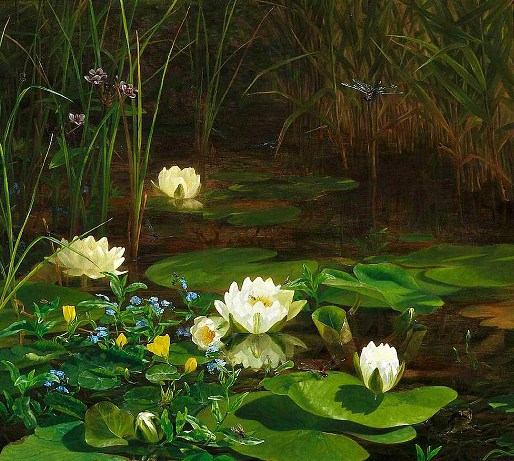 Anthonore-Christensen--Forest-Lake-with-Blooming-Water-Lilies-and-Insects.jpg